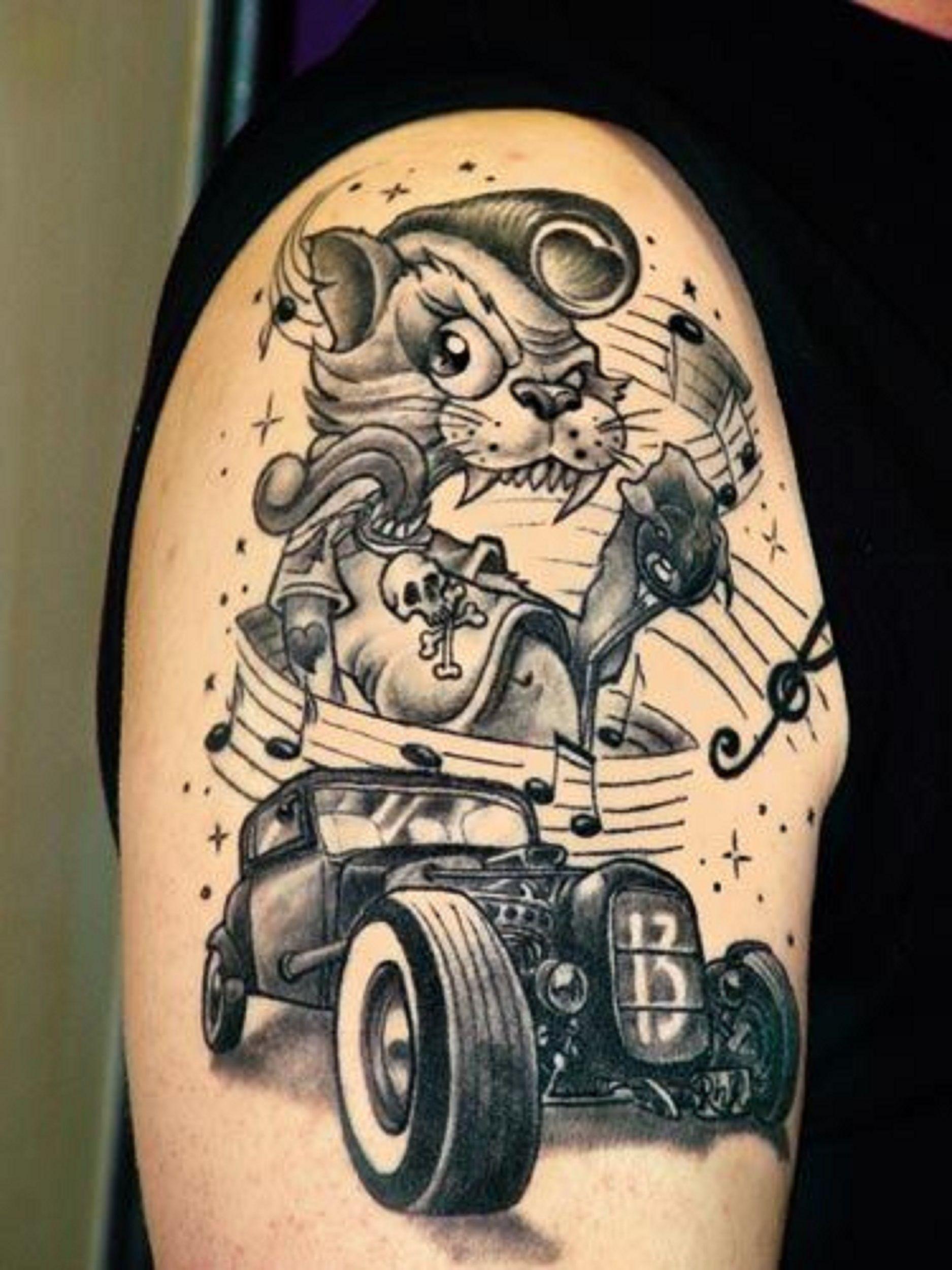 Rockabilly Cat Tattoo | Inkaholic | Rockabilly tattoos, Tattoos, Body art tattoos