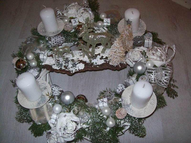 luxus adventskranz weiss silber creme ca 50cm von rosenparadies auf weihnachten. Black Bedroom Furniture Sets. Home Design Ideas