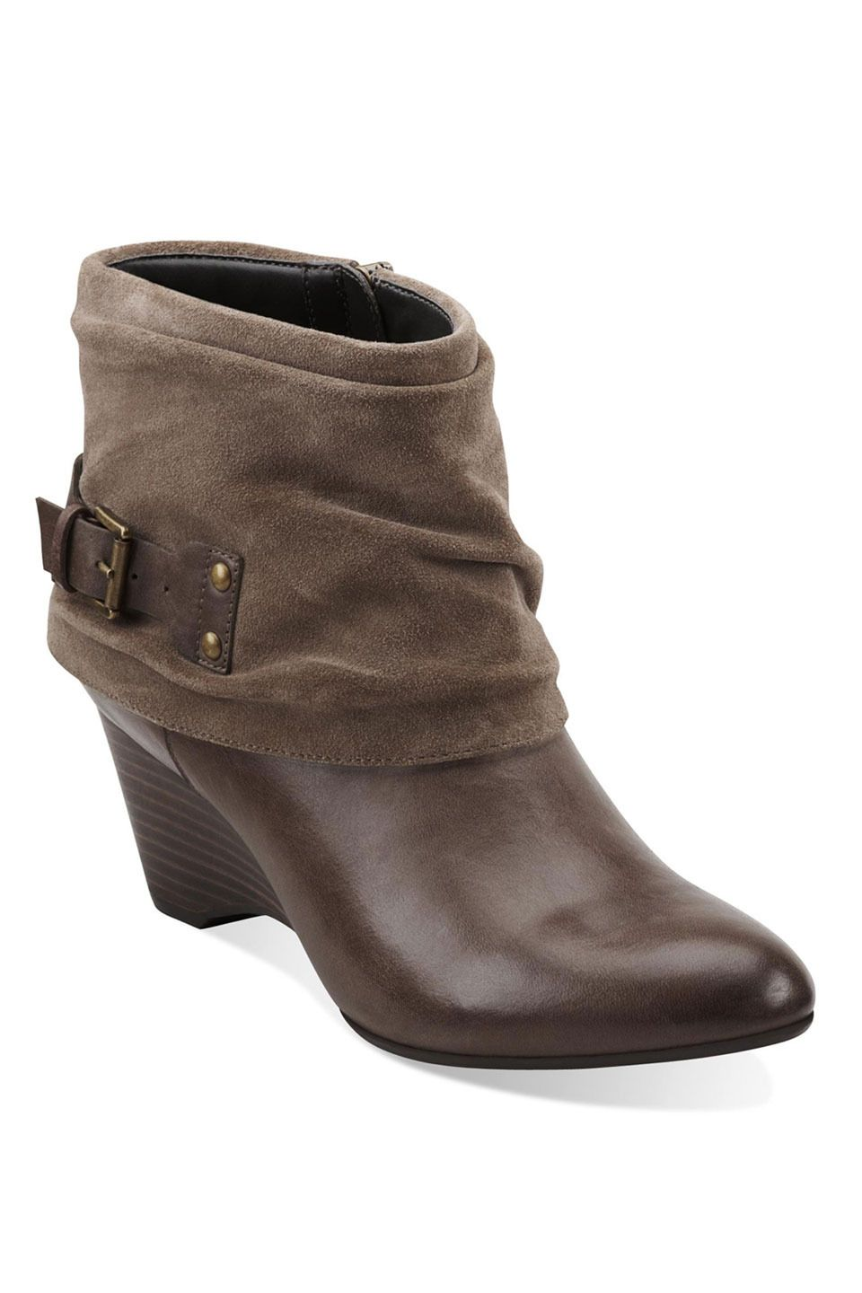 Clarks Trolley Twirl Bootie In Gray Leather - Beyond the Rack