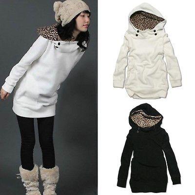 New-Women-Hoodie-Jumper-Sweatshirt-Leopard-Tops-Sweater-Pullover-Outerwear-Coat