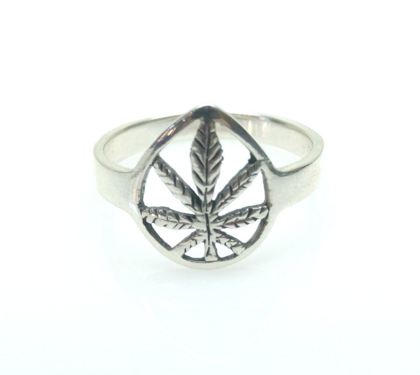 Vintage Sterling Silver Pot Leaf Mary Jane Marijuana Cannibus Leaf Ring Size 9.5 by TheGemmary on Etsy