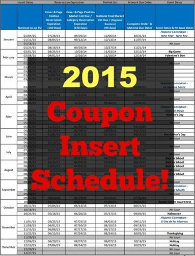 2015 Coupon Insert Schedule! | Grocery Shop For FREE at The Mart!!
