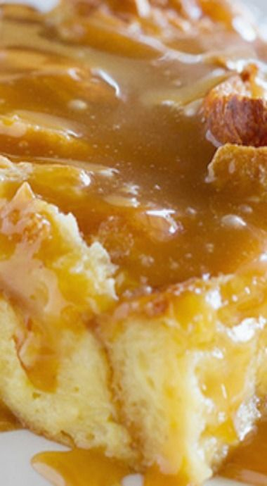 Eggnog Croissant Bread Pudding with Caramel Eggnog Syrup is part of Bread pudding - Transform your eggnog into this Eggnog Croissant Bread Pudding with Caramel Eggnog Syrup  Great for a decadent breakfast, or as a special dessert, this bread pudding is melt in your mouth delicious!