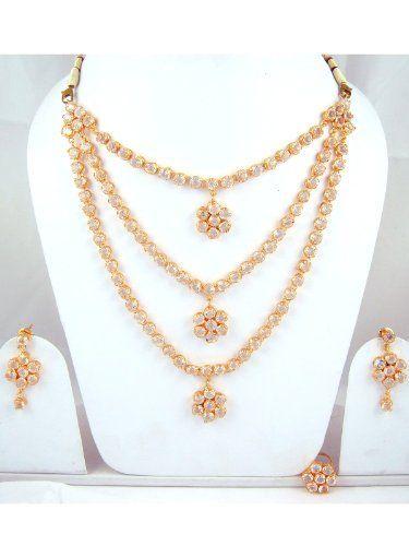 Prom Jewelry Set 3 Strand Gold Tone Crystal Rhinestone Necklace
