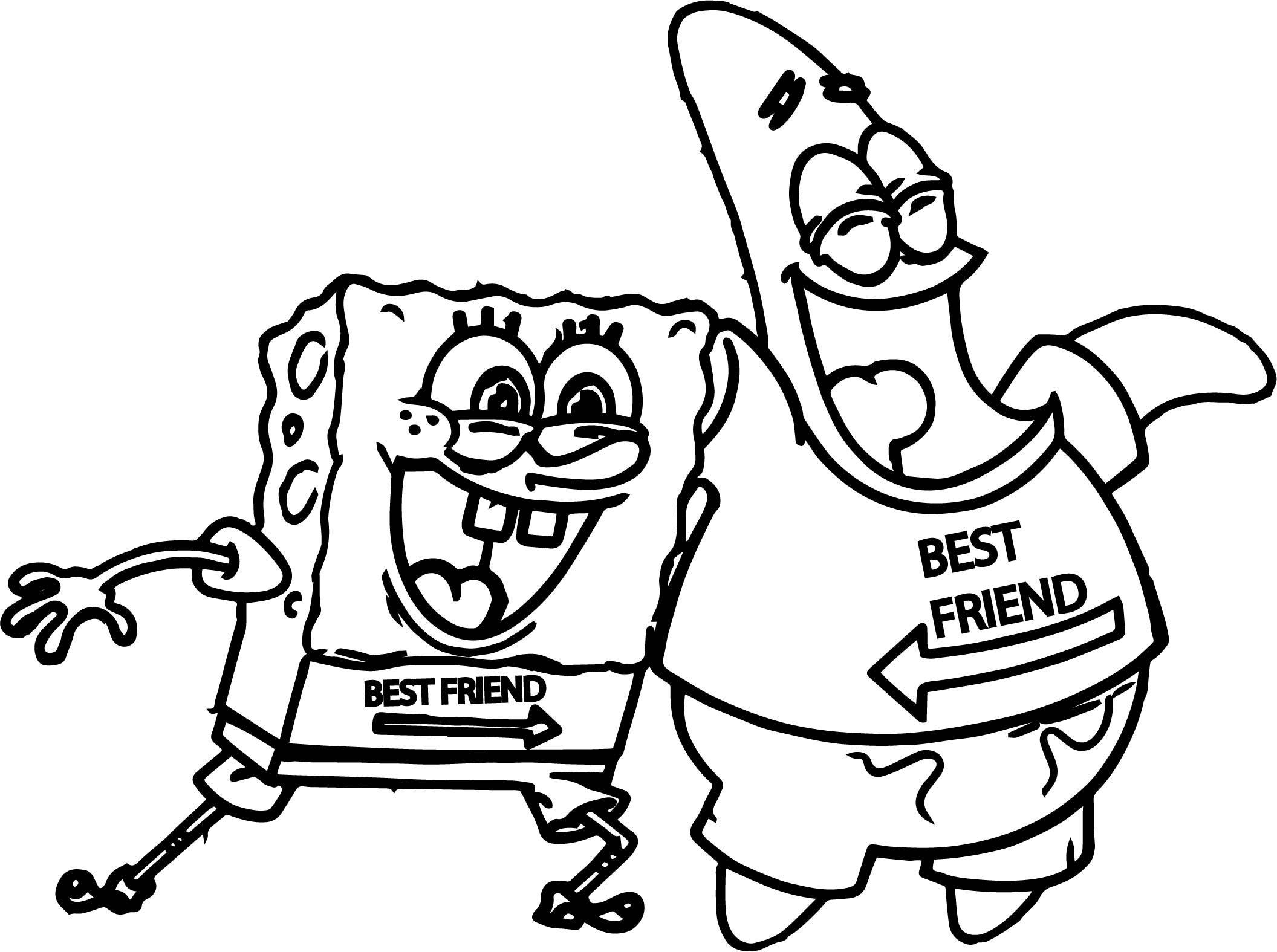 Nice Sponge Sunger Bob Patrick Best Friends Coloring Page Spongebob Drawings Cartoon Coloring Pages Drawings Of Friends