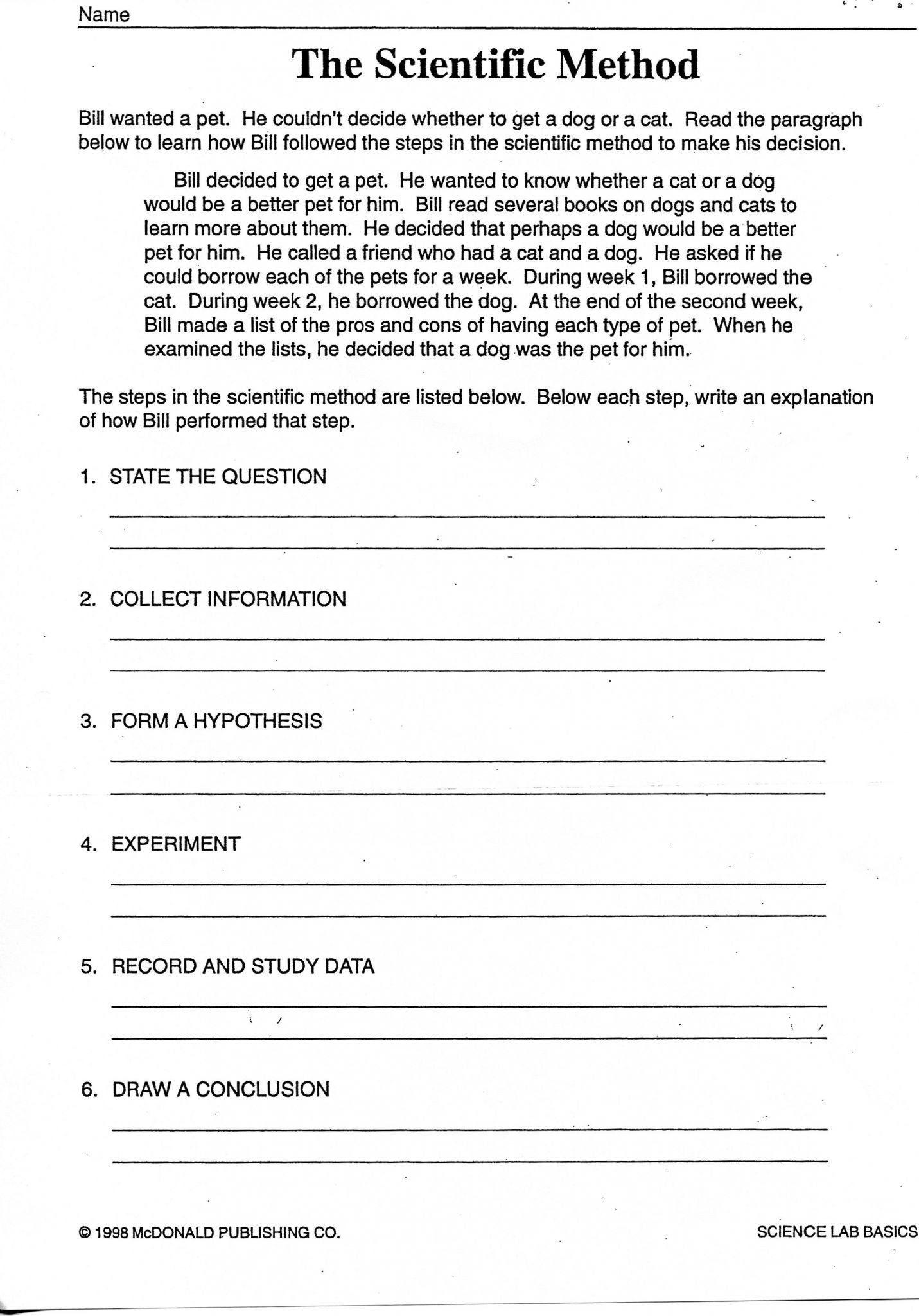 Scientific Method 3rd Grade Worksheet Free 3rd Grade