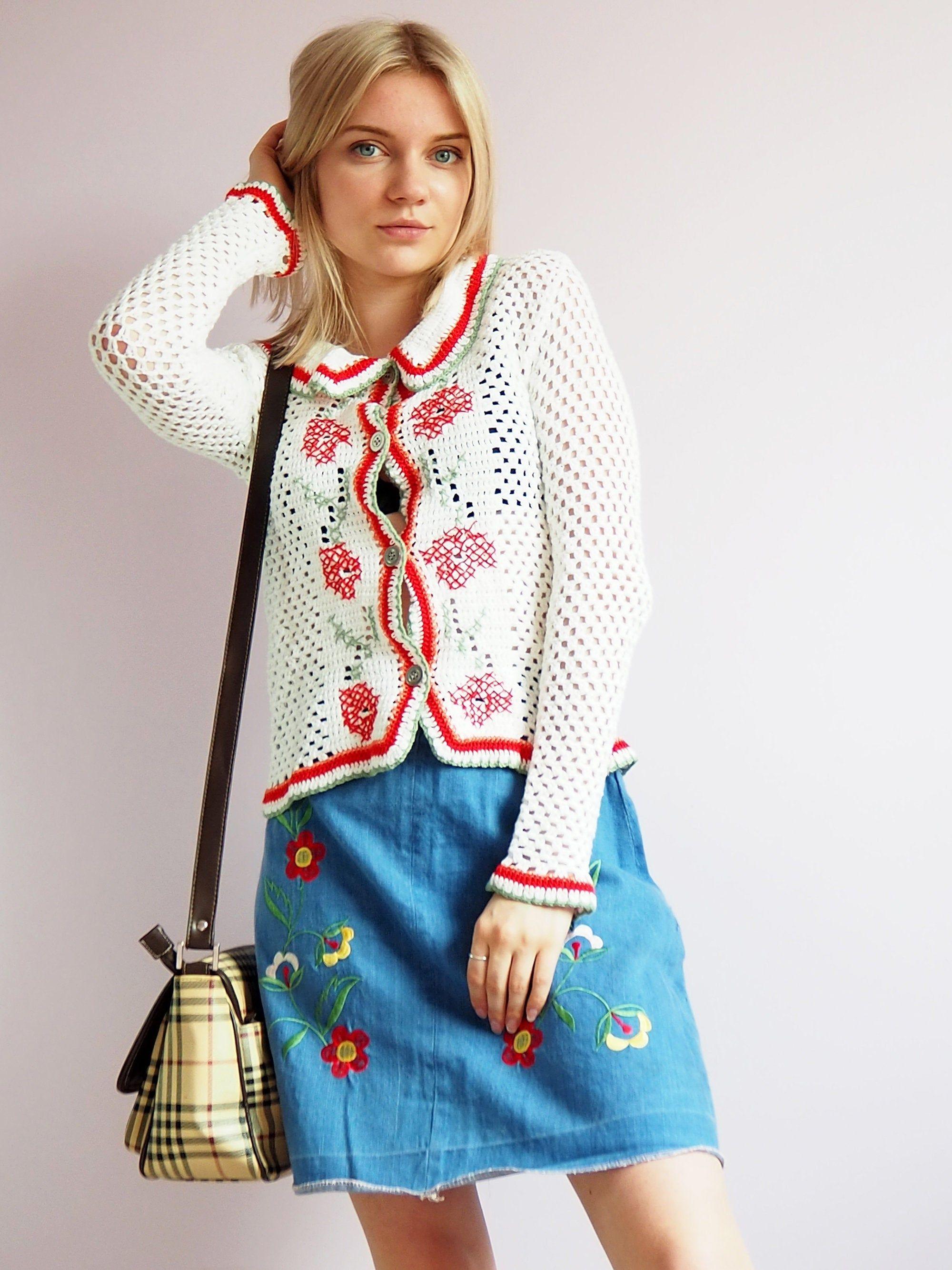 Vintage 90/'s blue embroidery denim jacket 70/'s Vintage women clothing 90/'s Y2K 80/'s
