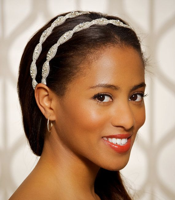 Ghanaian Bridal Styling With Straight Hair: Double Row Rhinestone Headband Beaded Crystal By