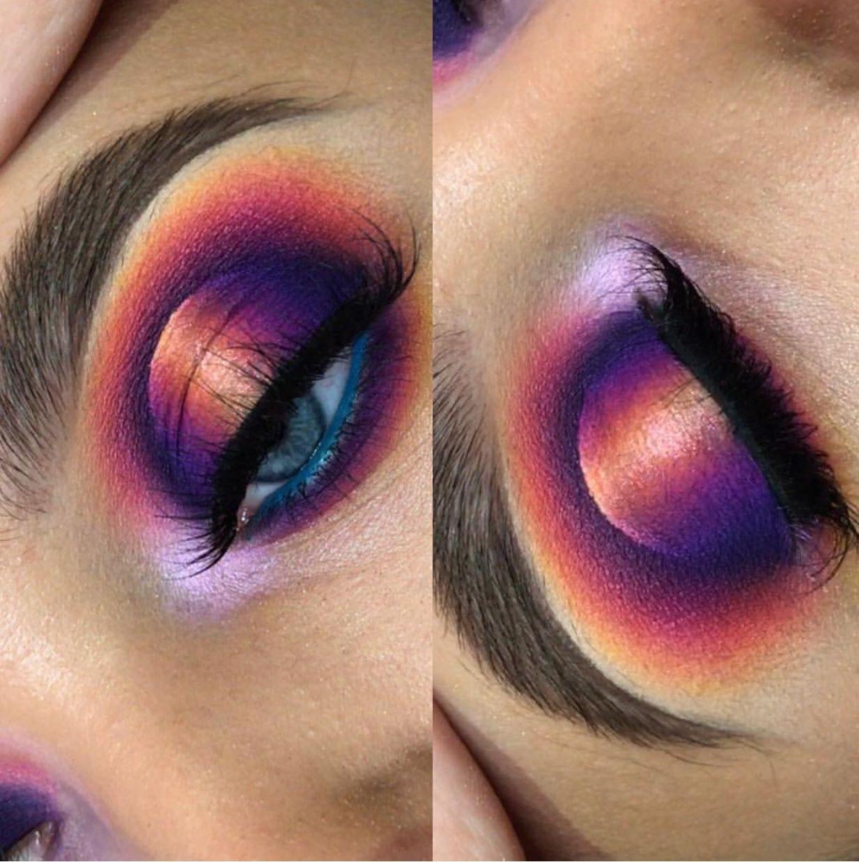 Dramatic Eye Look Purple Orange Eyeshadow Spotlight Eye Pin