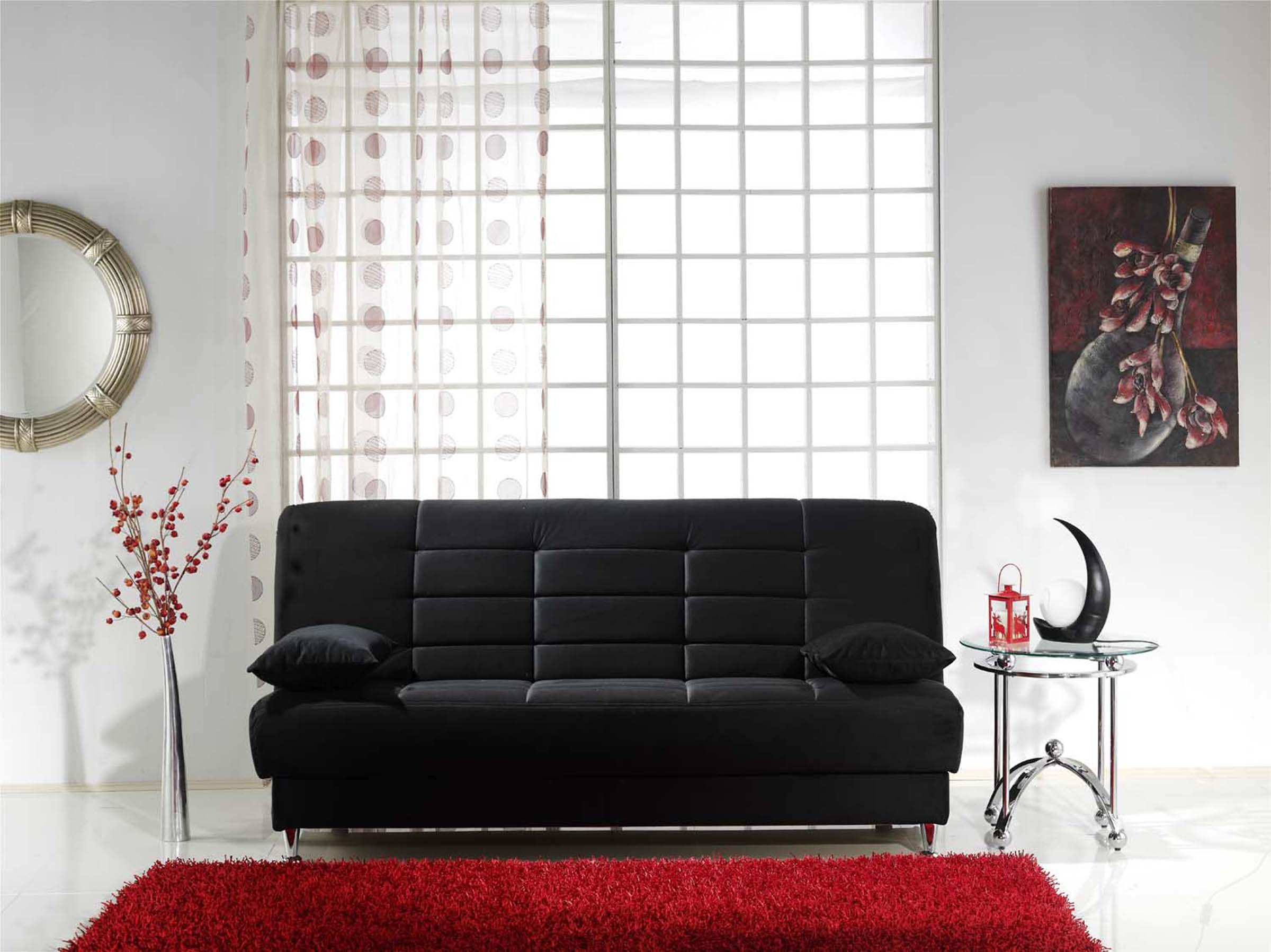Astounding Vegas Black Microfiber Sofa Bed Furnituregallerynyc Com Squirreltailoven Fun Painted Chair Ideas Images Squirreltailovenorg