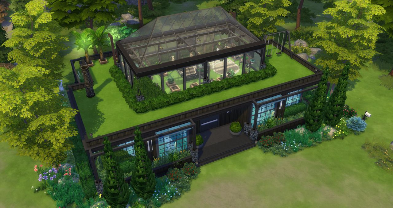 Kravedd Sims 4 CC — Vintage Industrial House with Greenhouse no cc