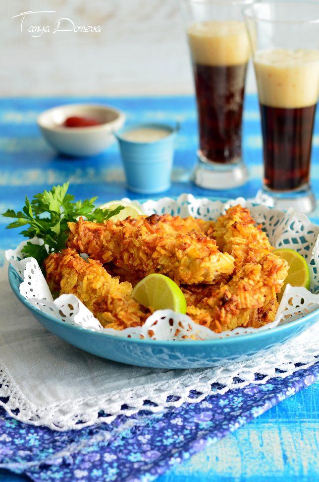 Необходими продукти:     400 грама пилешко филе, без кожа и кост   100 грама майонеза  ( най-добре домашна )   200 грама чипс  със сол  ...