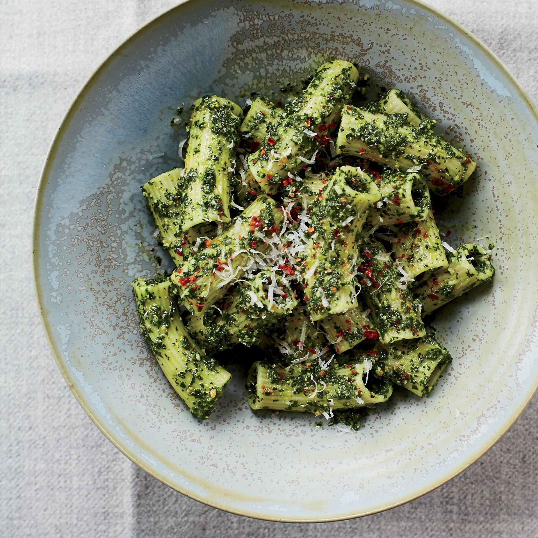 Rigatoni with lemony kale and pecorino pesto recipe rigatoni recipes forumfinder Images