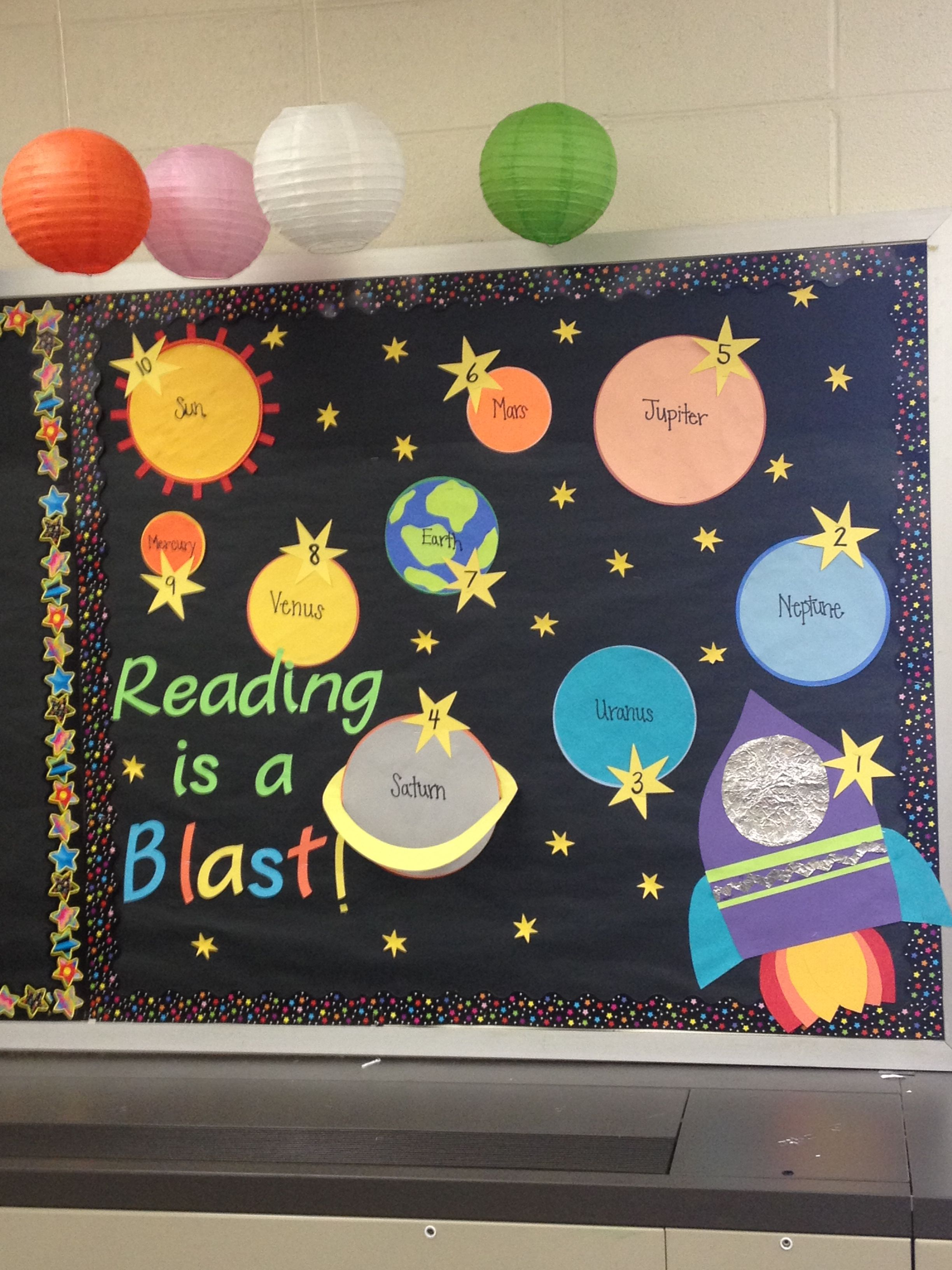 Maths Classroom Decoration Ideas ~ Space themed bulletin board for ar goals each student