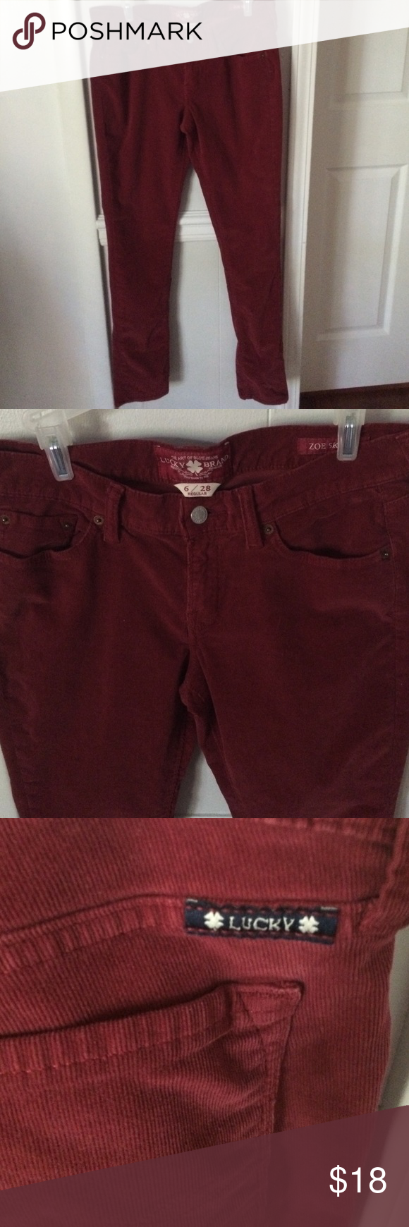 Lucky Brand Cords Great Condition Zoe Skinny Style Beautiful Dark Rust Color