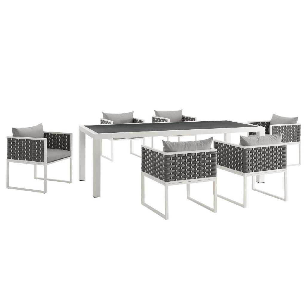 Stance 7-Pc Outdoor Patio Aluminum Dining Set in White Gray - East End Imports EEI-3185-WHI-GRY-SET #resinpatiofurniture Stance 7-Pc Outdoor Patio Aluminum Dining Set in White Gray - East End Imports EEI-3185-WHI-GRY-SET #resinpatiofurniture