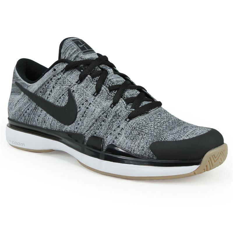 Nike Zoom Vapor Fly Knit Mens Tennis Shoe Dark Grey Black White Light Brown Mens Tennis Shoes Mens Athletic Shoes Tennis Shoes