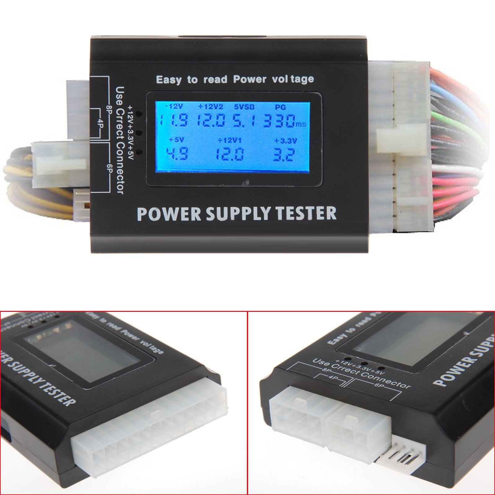 PC Computer LCD 20//24 Pin 4 PSU ATX BTX ITX SATA HDD Digital Power Supply Tester