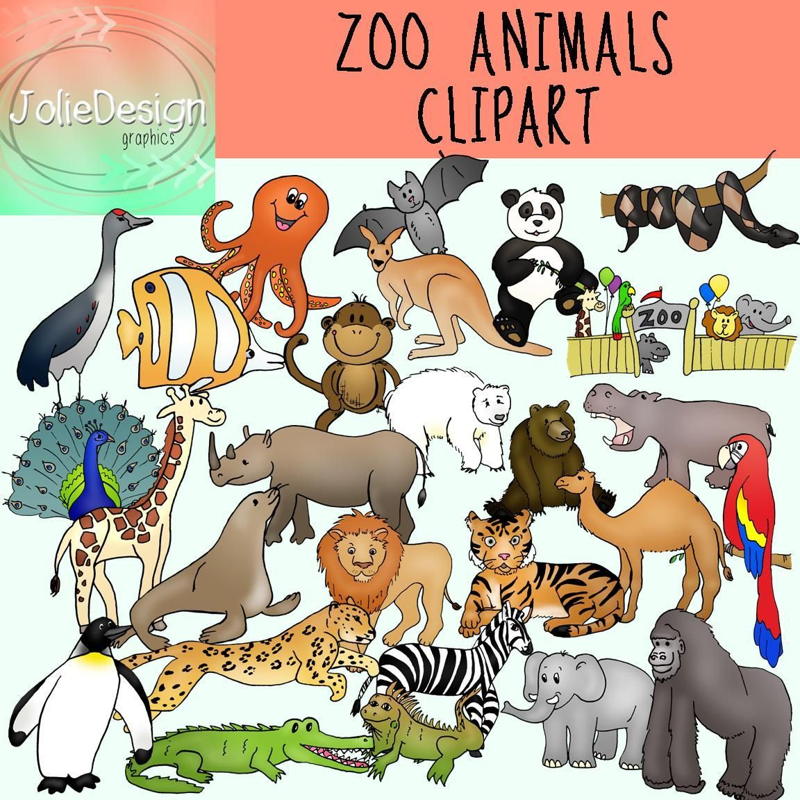 Zoo Animals Clipart Color and Blackline commercial and