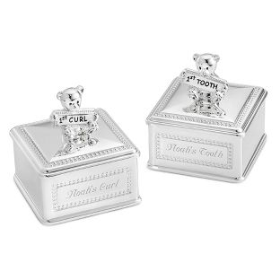 Cute Antique Silver Baby/'s First Tooth /& Curl Box Keepsake Kids Birthday Gift