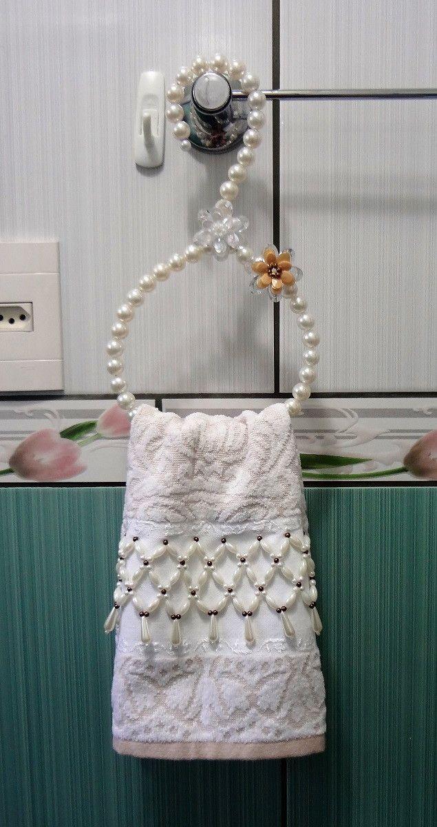 Buffet Aparador Adega ~  Cabide para banheiro feito com perolas Toalha n u00e3o esta inclusa no valor  Porta toalha