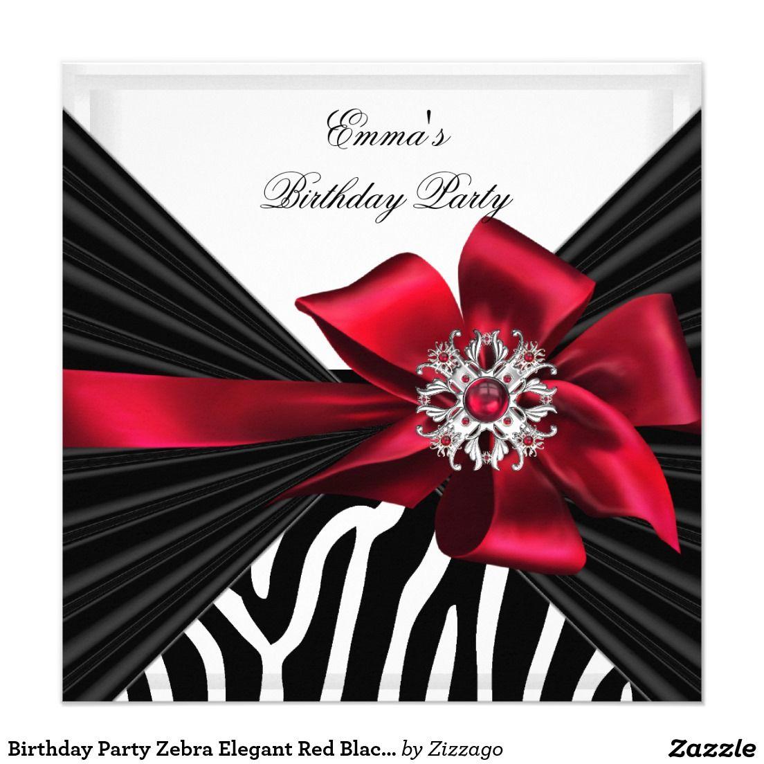 Birthday Party Zebra Elegant Red Black White Invitation | Birthday ...