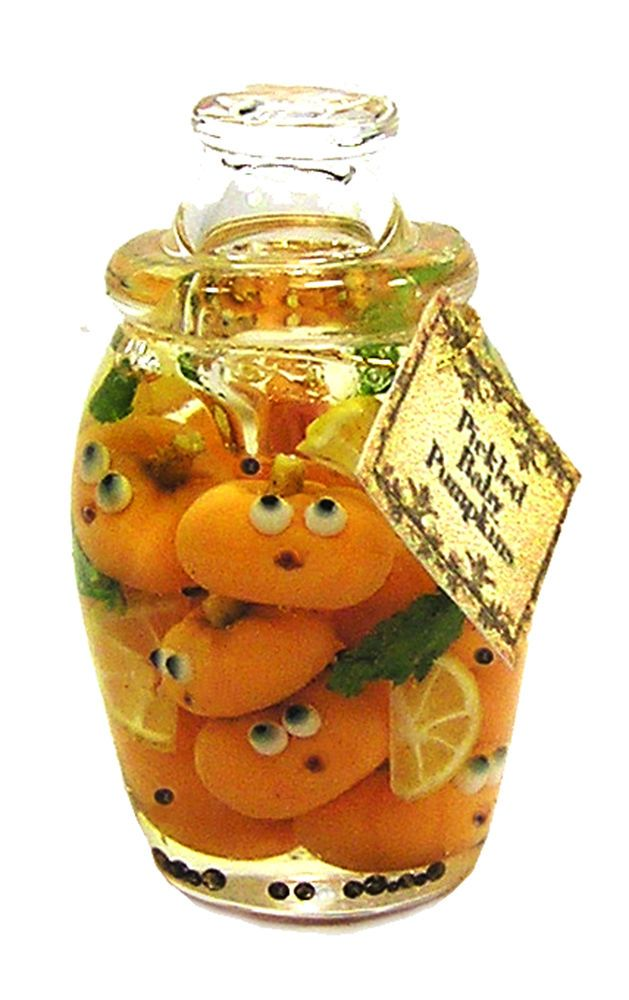 Dollhouse Miniature Jar  of Pickled Baby Pumpkins - Handmade 1:12 scale