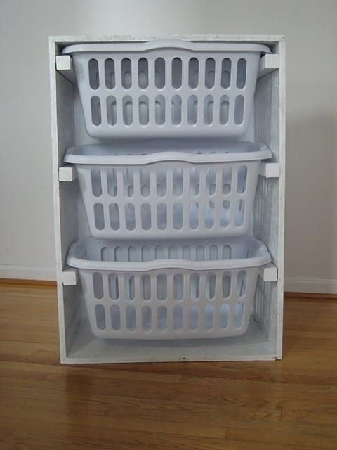 Create Your Own Laundry Sorter Using Scrap Plywood And Laundry Baskets Mit Bildern Waschekorb Kommode Waschekorb Organisation Waschekorb
