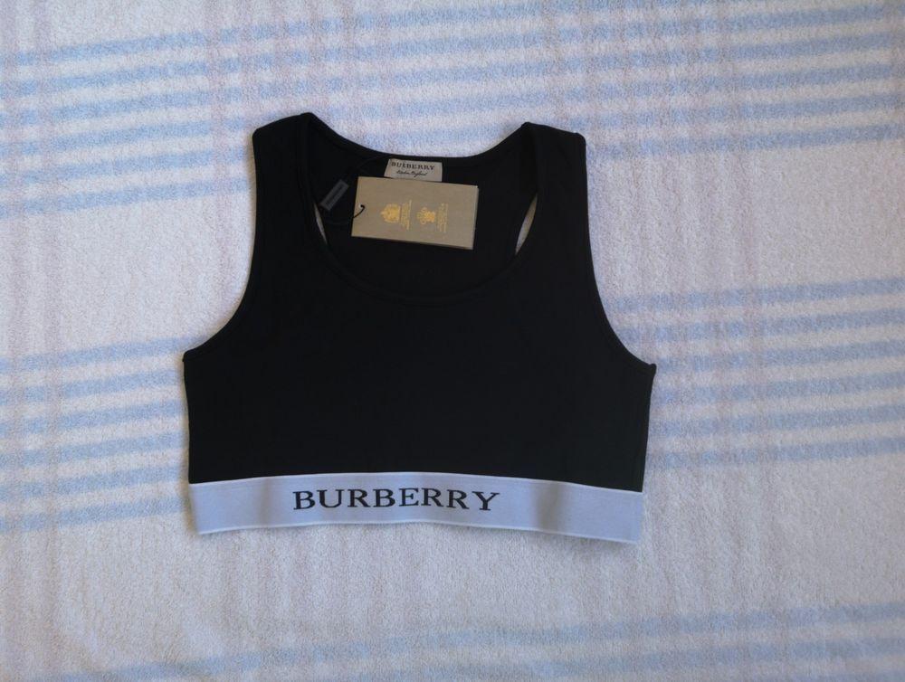 429986287c6d6 Burberry Women Logo Stretch Jersey Sports Bra Top Black Size M RRP150   fashion  clothing