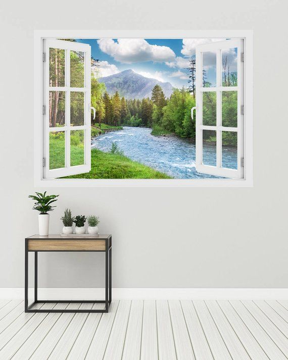 3d window landscape of forest and river, wall decal vinyl, 3d wall