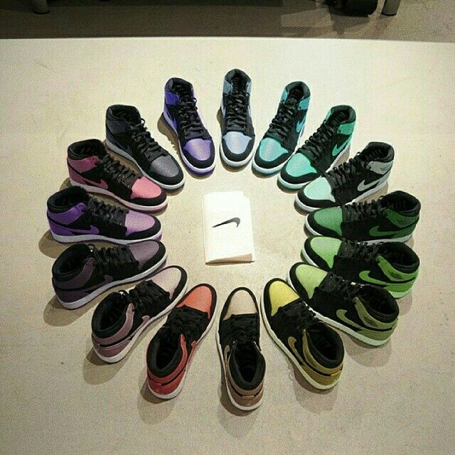 The color wheel of Air Jordan 1 s. Beautiful.  90bc7e414