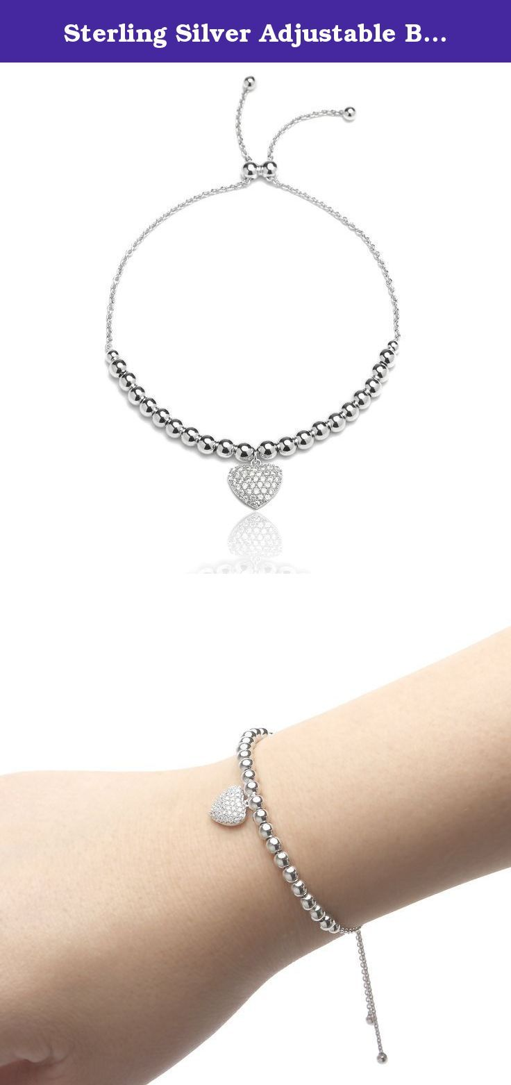 Sterling silver adjustable bracelet with cubic zirconia heart charm