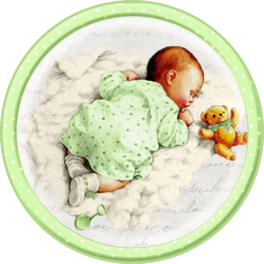 Cute Sleeping Babies. Free Printable Cards, Toppers or Labels.