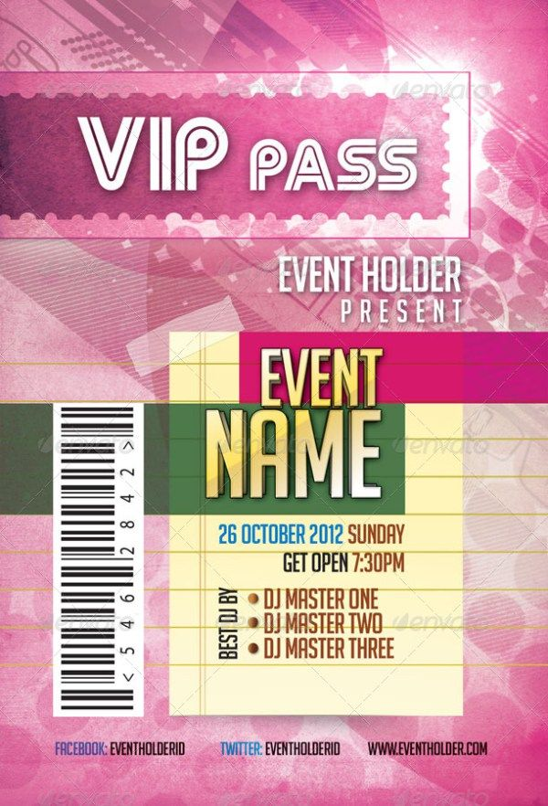 Event Ticket VIP Pass Pack Template Templates Pinterest