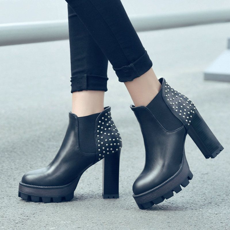 Women's High-Heels Round Closed Toe Pu Low-Top Solid Lace-Up Boots Black-Chunky Heels 34
