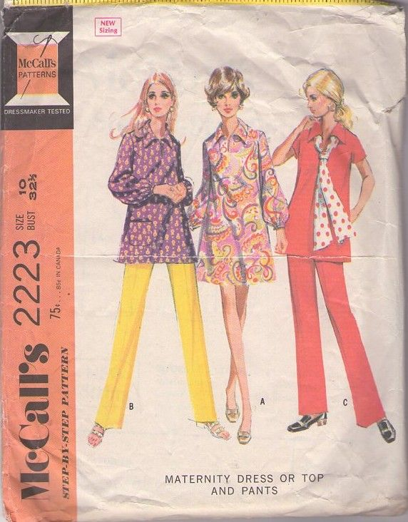 MOMSPatterns Vintage Sewing Patterns - McCall's 2223 Vintage 60's Sewing Pattern COOL Brady Bunch Style Mod Maternity Tent Dress, Tunic Top & Sash, Pants