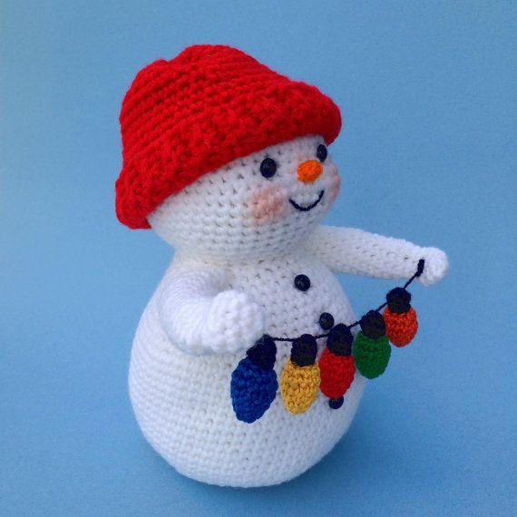Bonhomme de neige avec des lumi res pdf crochet pattern - Bonhomme de neige au crochet ...