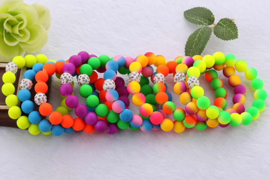 New Handmade 10mm Mixed Color Fluorescent Neon Colors String Bead Bracelets Fashion Jewelry Charm For Kids Girl Gift 10PCS