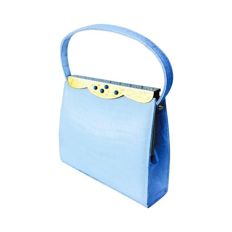 337422db309c Rare Lucille de Paris White Crocodile Handbag 1950s