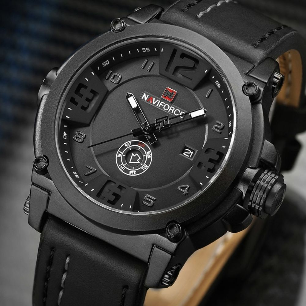 Naviforce Waterproof Quartz Men S Sports Watch With Leather Strap Mens Watches Leather Watches For Men Military Watches