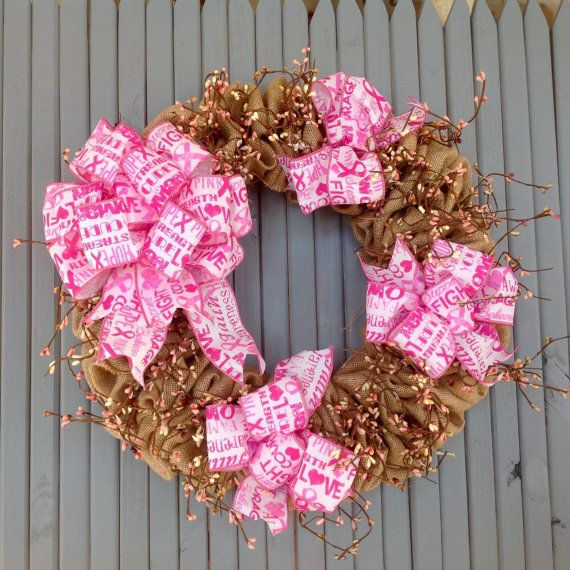 Burlap wreath breast cancer awareness Hope by TranquilitybyAney