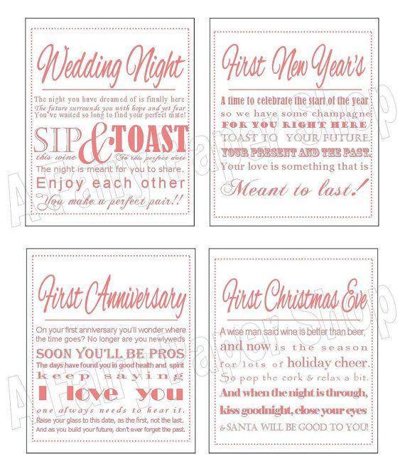 Light Pink - wine poem tags / engagement/wedding/bridal ...