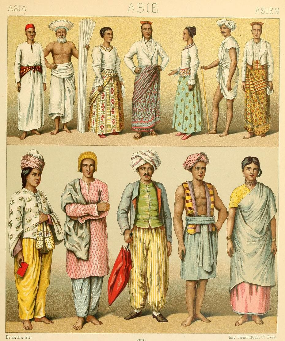 Old Sri Lanka And Maldives Drawings From Le Costume Historique Vol 3 By Auguste Racinet 1888 Historical Costume Vintage India Historical Clothing
