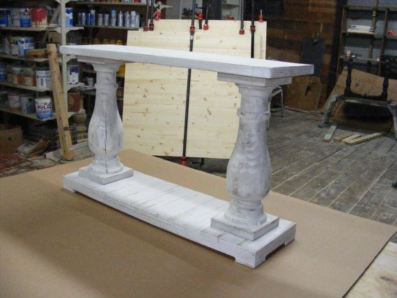 Whitewashed Console Table Handcrafted Beautiful Chunky Balustrade