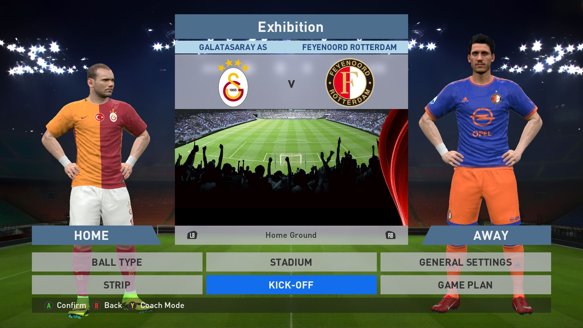 Galatasaray As Vs Feyenoord Rotterdam Turk Telekom Arena Pes 2016 Pro Evolution Soccer 2016 Konami Pc Gameplay Pes