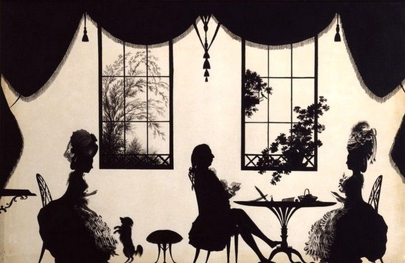 Francis Torond (1743?-1812)   —   Pen drawing silhouette  'Mr. and Mrs. Smith of Hailsham, and Aunt Everard', c1777  (800x520)
