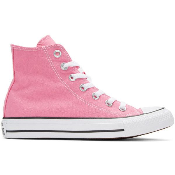 1a1cd6bc52b Converse Pink Classic Chuck Taylor All Star OX High-Top Sneakers (€47) ❤  liked on Polyvore featuring shoes, sneakers, pink, converse high tops, ...