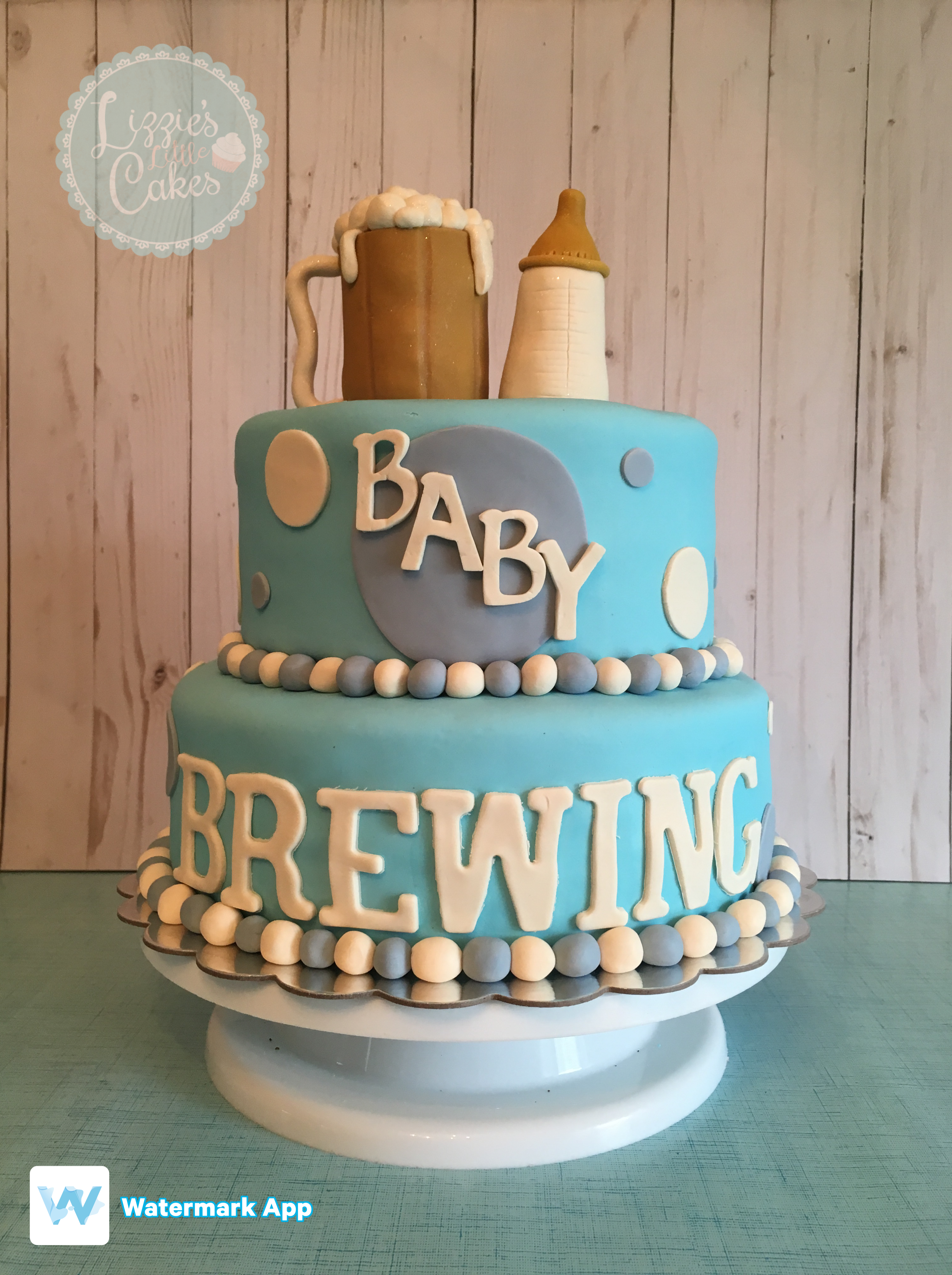 Baby Is Brewing Cake For A Male Baby Shower