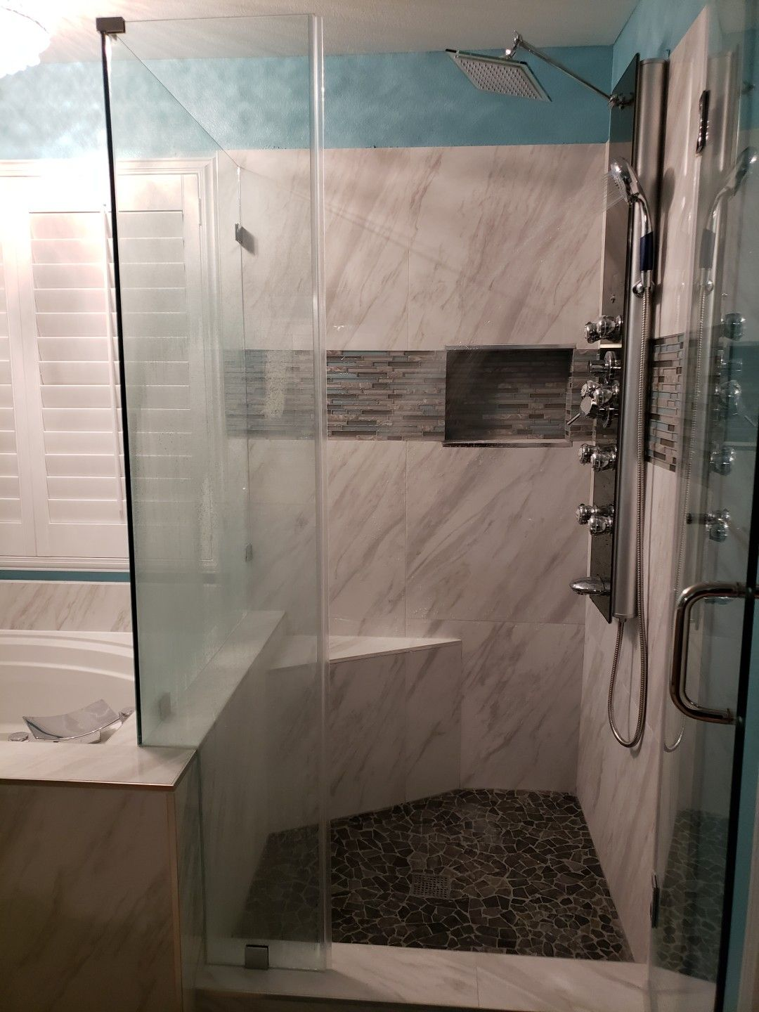 New Tile In Shower And Around The Tub Gives A Wonderful Look