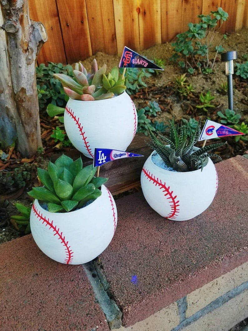 Photo of Unique Baseball fans lover ceramic planter bowl pot customize with your favorite team flag! Comes with living succulent or cactus
